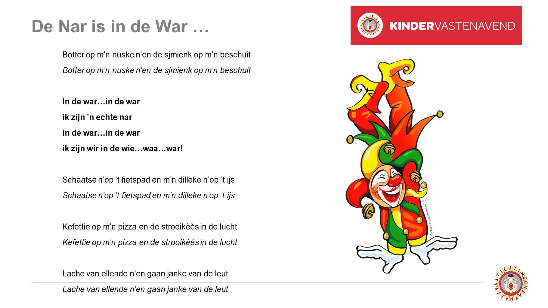 Liedjestekst - De Nar is in de War!